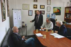 Meeting of Board. From left to right: L.N. Orlov, V.N. Upyr, A.A. Golyakevich, S.P. Giyuk